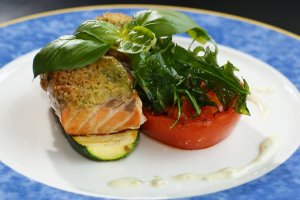 salmon and veggie meal